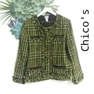 Chico's Green Brown Tweed Blazer Jacket